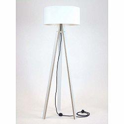 Biela stojacia lampa s bielym tienidloma čiernym káblom Ragaba Wanda