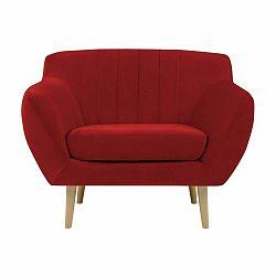 Červené kreslo so svetlými nohami Mazzini Sofas Sardaigne