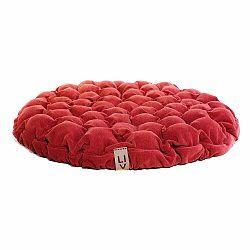 Červený sedací vankúšik s masážnymi loptičkami Linda Vrňáková Bloom, Ø 75 cm