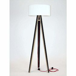 Čierna stojacia lampa s bielym tienidloma červeným káblom Ragaba Wanda