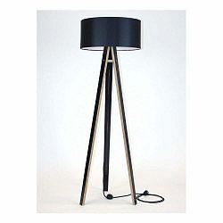 Čierna stojacia lampa s čiernym tienidloma čiernym káblom Ragaba Wanda