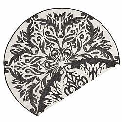 Čierno-krémový vonkajší koberec Bougari Madrid, ⌀ 140 cm