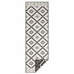 Čierno-krémový vonkajší koberec Bougari Malibu, 80 x 350 cm