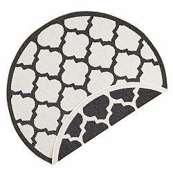 Čierno-krémový vonkajší koberec Bougari Palermo, ⌀ 140 cm