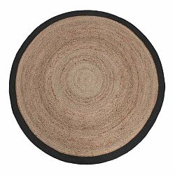 Jutový koberec s čiernym okrajom LABEL51 Rug,⌀150cm