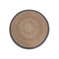 Jutový koberec so sivým okrajom LABEL51 Rug,⌀180 cm