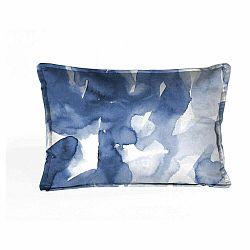 Modro-biela dekoratívny vankúš Velvet Atelier Watercolor, 50×25cm