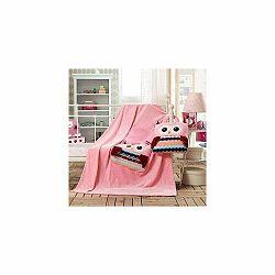 Ružová detská deka z mikrovlákna DecoKing Cuties Owls, 110 x 160 cm