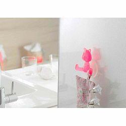 Ružový prísavný držiak v tvare mačičky Compactor