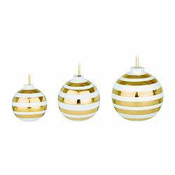 Sada 3 bielych keramických vianočných ozdôb na stromček s detailmi v zlatej farbe Kähler Design Omaggio
