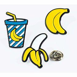 Sada 3 kovových odznakov Just Mustard Banana