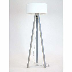 Sivá stojacia lampa s bielym tienidloma transparentným káblom Ragaba Wanda