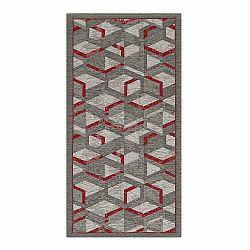Sivo-červený behúň Floorita Hypnotik, 55x140cm
