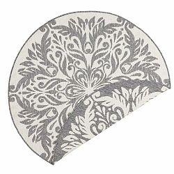 Sivo-krémový vonkajší koberec Bougari Madrid, ⌀ 140 cm