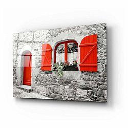 Sklenený obraz Insigne Red Door and Window