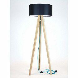 Stojacia lampa s čiernym tienidloma tyrkysovým káblom Ragaba Wanda