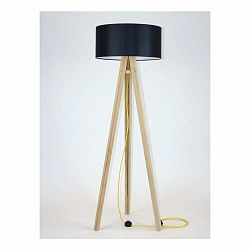 Stojacia lampa s čiernym tienidloma žltým káblom Ragaba Wanda