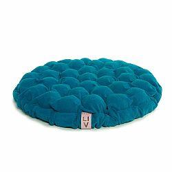 Tyrkysovomodrý sedací vankúšik s masážnymi loptičkami Linda Vrňáková Bloom, Ø 65 cm