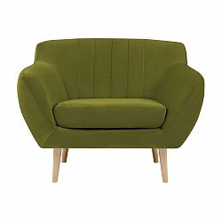 Zelené kreslo so svetlými nohami Mazzini Sofas Sardaigne