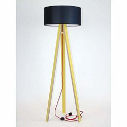 Žltá stojacia lampa s čiernym tienidloma červeným káblom Ragaba Wanda